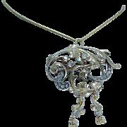Antique Jewelry c1890s 14K Gold Old European Miner Diamonds Huge Pendant Brooch