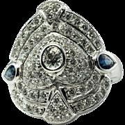 Closeout $3499 Estate Jewelry 14K White Gold 2.06 cts Diamond Sapphire Ring