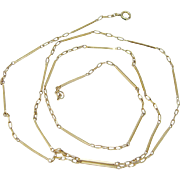 """Vintage 18K Yellow Gold Bar tubes Chain Necklace 25"""" Long 6.8 grams"""