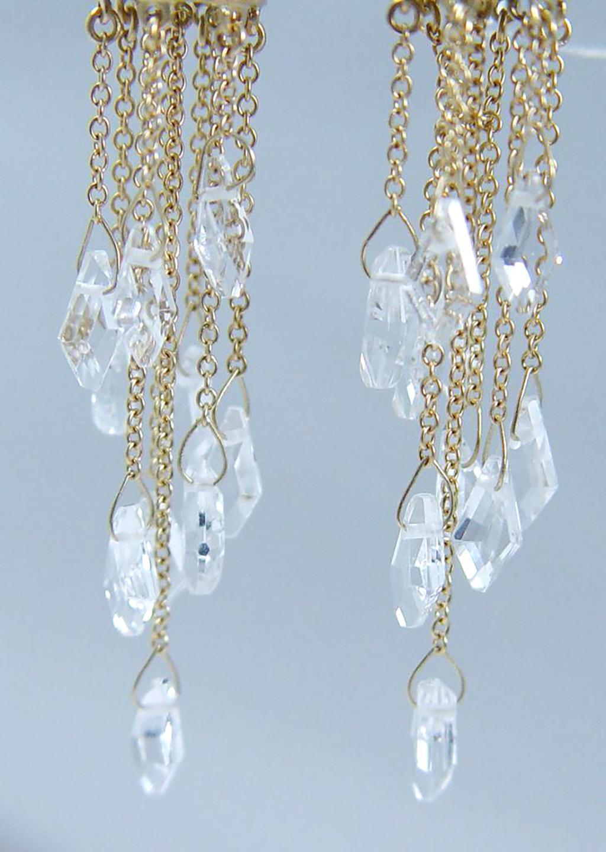 Designer Jewelry Luca Carati 18K Gold Earrings Clear Quartz
