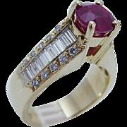 Estate ADJ 18K Yellow Gold 1.30ct VVS2/G Diamond 2.25ct 8mm Ruby High setting Ring