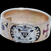 14K Yellow Gold Enamel 32 Masonic Men Ring virtus junxit mors non separabit 1931