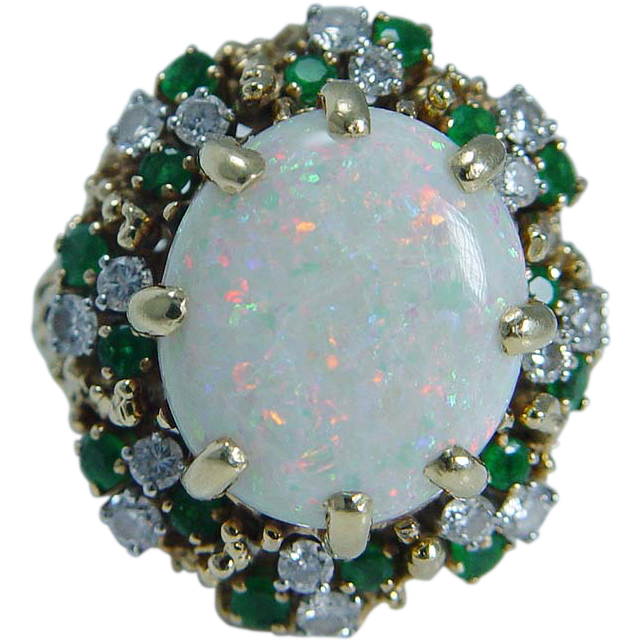 vintage jewelry 18k yellow gold 8 20ct opal emerald