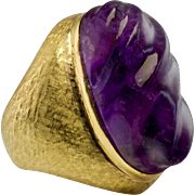 Vintage Jewelry 18K Yellow Gold Carved Fluted Amethyst Huge Cocktail Ring Guards