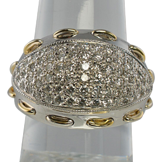 Estate Jewelry 14K White Gold Hallmarked SB 1.5c VS1 G Diamonds Dome Large Ring