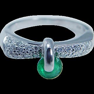 Estate Jewelry Unusual 14K White Gold Emerald Diamond Band Ring