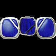 Vintage Jewelry Large 18K Yellow Gold Lapis Lazuli Ring 14K Gold Earrings Set