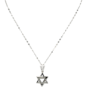 Estate 14K White Gold Star of David Diamonds Pendant Necklace with Chain Italy