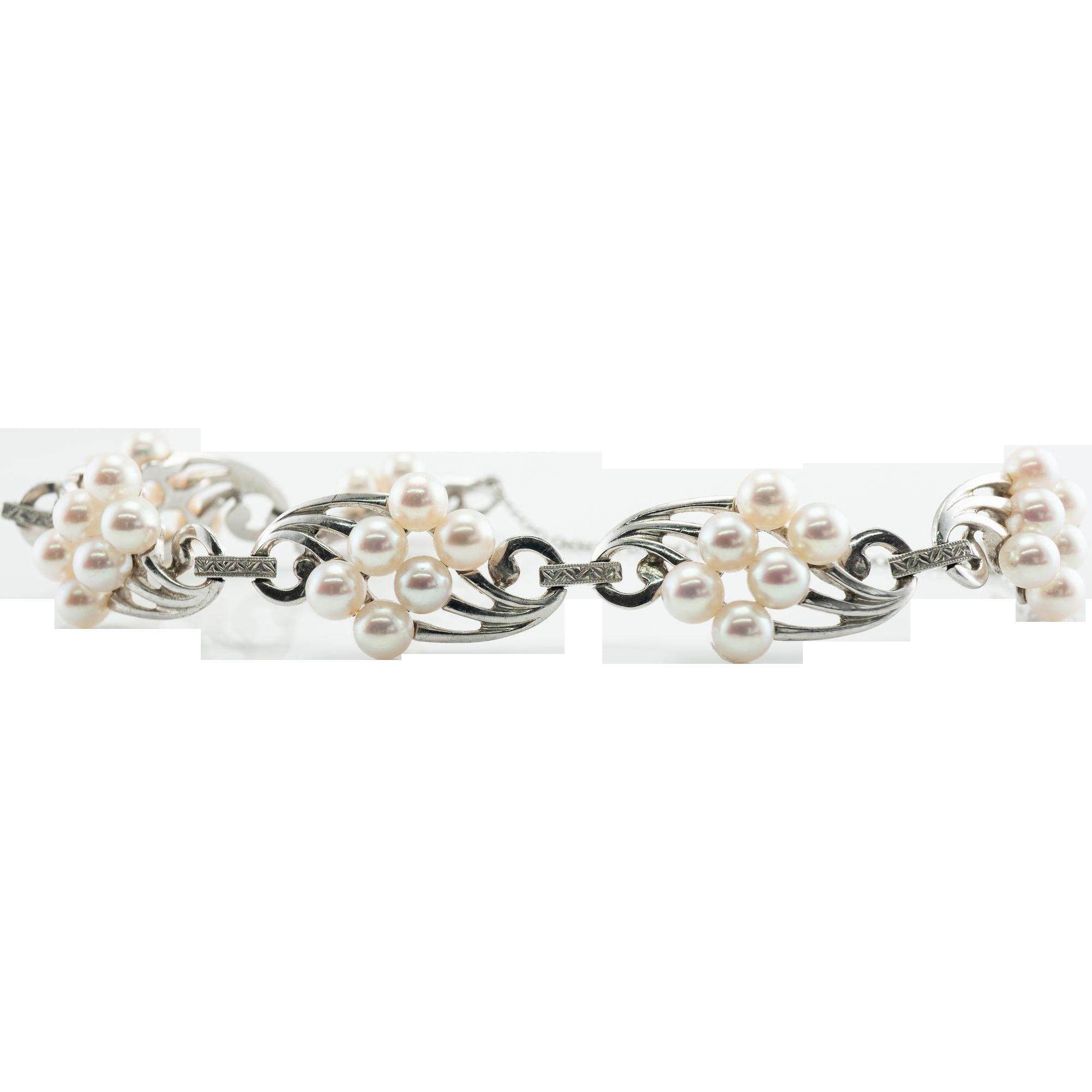 Vintage Designer Jewelry Mikimoto 14K White Gold Cultured Pearl