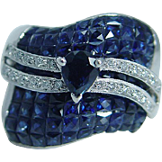 Designer JCR John C Rinker 14K White Gold Sapphires Diamonds Wide Ring Signed