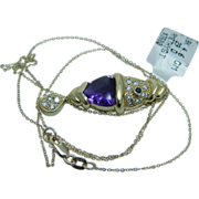 Estate $3500 Amethyst Diamonds 18K Yellow Gold Fish Pendant Chain Necklace