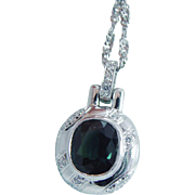 Estate Platinum Green Tourmaline Diamond Pendant 14K White Gold Chain Necklace