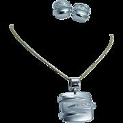 Italian Designer Luca Carati Diamond 18K White Gold Pendant Earrings Set Jewelry