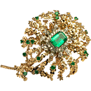Vintage Huge 14K Yellow Gold 2.60ct Emeralds .70ct Diamonds Brooch Pendant Pin