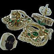 Vintage 18K Yellow Gold Rose cut Diamonds Colombian Emerald Earrings Pendant Set