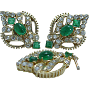 Vintage 18K Yellow Gold Rose cut Diamonds Colombian Emerald Earrings Pendant Set Appraisal $5900