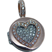 Estate 18K Rose White Gold .90ct Diamond Heart Open Locket Pendant Enhancer