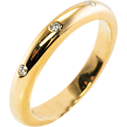 Designer David Webb 18K Yellow Gold Diamond Wedding Band Comfortable Fit