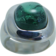 Estate 18K White Gold Green Tourmaline Cabochon Ring Made in Italy