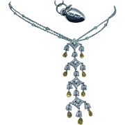 18K White Gold Yellow Sapphires Briolettes 1.85ct Diamonds Necklace by Yard