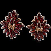 Vintage 14K Rose Gold Garnets Diamonds Omega Backings Large Earrings