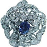 Vintage 14K White Gold Sapphire Diamonds Cocktail Large Ring Jewelry