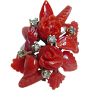 Vintage 14K Yellow Gold Red Coral Flowers Diamonds Cocktail Large Ring