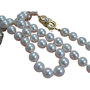 "Vintage Mikimoto 18K Yellow Gold Clasp 7-7.4mm A+ Pearls 18"" Necklace"