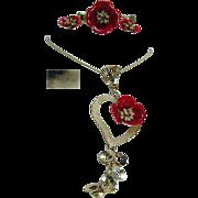 Vintage Retro 18K Yellow Gold Poppy Red Enamel Flower Ring Pendant Earrings Set Italy