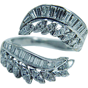 Estate Platinum 3.17cts Diamonds Diamond Wrap Guard Ring for your engagement