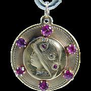 Vintage Art Nouveau 14K Yellow Gold Ruby Rose cut Diamonds Pendant Jewelry