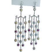 18K Blackened Gold 5.44cts Diamond Gemstone Long Chandelier Dangle Earrings