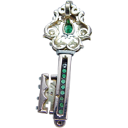 Vintage 14K Yellow Gold Emerald Diamonds Huge Key Pendant for Necklace Jewelry