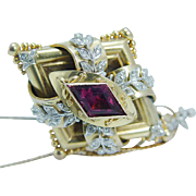 Antique Victorian 14K Yellow Gold Tourmaline Diamonds Large Pendant or Brooch