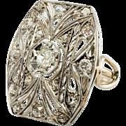 Vintage Platinum top 14K White Gold shank .46ct Old miner cut Diamonds Large Ring