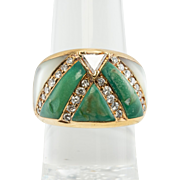 Estate 18K Yellow Gold Inlaid Mother of Pearl Turquoise .89ct Diamonds Ring