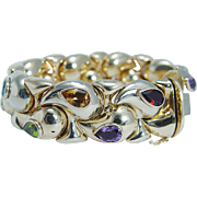 "Estate Italian 14K Yellow Gold Multi Gemstones Chunky Bracelet 50.2gr 7.25"" Long"