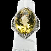 18K White Gold Levian Le Vian Lemon Quartz Tsavorites Diamonds Cocktail Ring