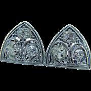 Vintage Platinum .60ct Old Miner cut Diamonds Earrings Jewelry