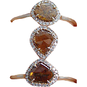 Estate 18K Rose Gold 1.25ct Diamond Ring One of a Kind Double Band Jewelry