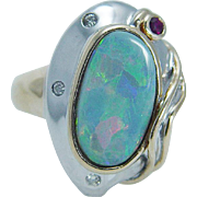 Estate 14K Yellow White Gold Opal Ruby Diamonds Ring Splashes of Colors