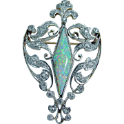 Vintage 14K Yellow White Gold Opal .79ct Diamonds Brooch Pendant Convertible