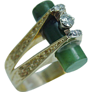Vintage 18K Yellow Gold .32ct Diamond Jade Tube Ring High Setting