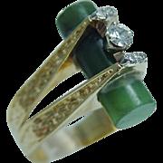 Vintage 18K Yellow Gold .32ct Diamond Jade Tube Ring High Setting