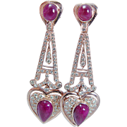 Estate 18K Rose Gold 2.64ct Diamonds 9.54ct Ruby Cabochons Dangle Earrings