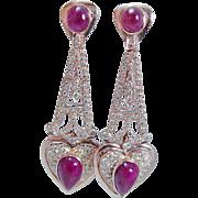 Estate 18K Rose Gold 2.64ct Diamonds 9.54ct Ruby Cabochons Dangle Earrings