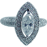 18K White Gold 1.00ct center Marquise Diamond 1.44cttw Diamonds Engagement Ring