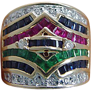 Estate 14K Yellow Gold Emerald Ruby Sapphire Diamond Wide Band Ring VIDEO