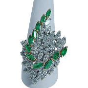 Vintage 14K White Gold Huge 3.40ct Marquise Diamond Emerald Cocktail Ring