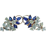 Vintage 14K Yellow Gold 4.36ct Diamonds Sapphires Earrings Omega screw backings
